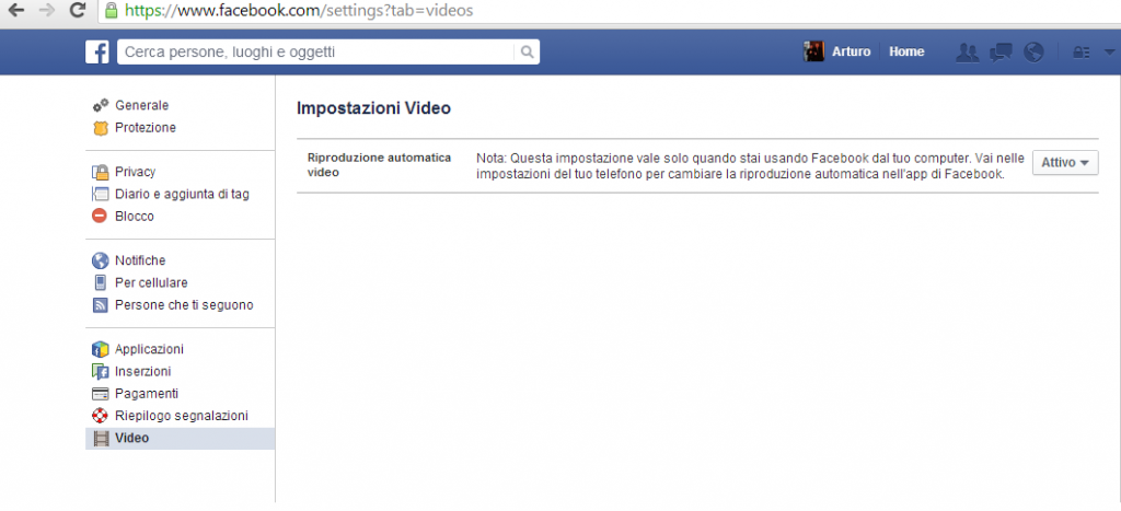 Facebook sezione Video